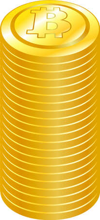 This is a illustration of Stacked Bitcoin medals Foto de archivo - 160574962
