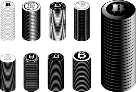 This is a illustration of Monochrome Stacked Bitcoin medals