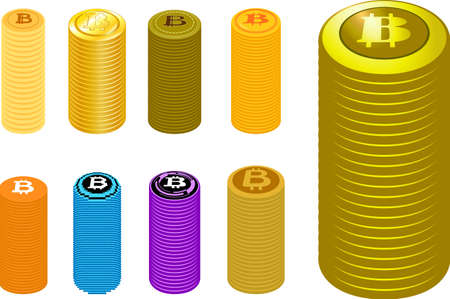 This is a illustration of Stacked Bitcoin medals Foto de archivo - 160574972