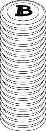 This is a illustration of Monochrome Stacked Bitcoin medals Foto de archivo - 160574977