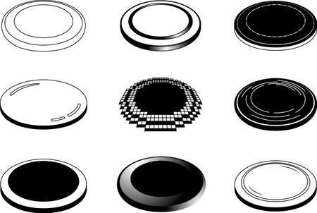 This is a illustration of Monochrome Coin medals placed on a single plane