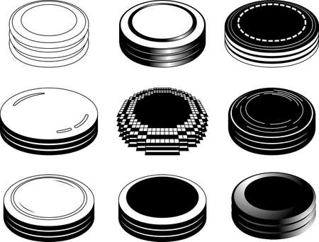 This is a illustration of Monochrome 3 stacked Coin medals Illustration