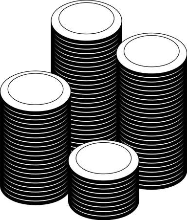 This is a illustration of Monochrome Coin medals piled up a lot