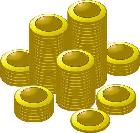 This is a illustration of Coin medals piled up a lot