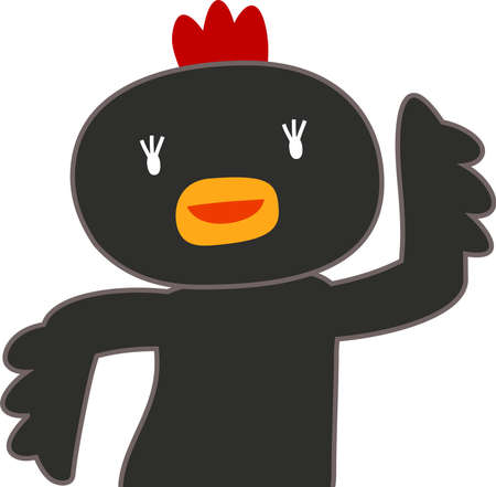 This is a illustration of chicken that guides you by pointing your finger