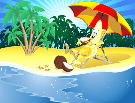 Banana Cartoon in Tropical Beach Vector