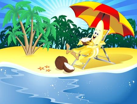 banaan cartoon: Zonsondergang in de zomer veld