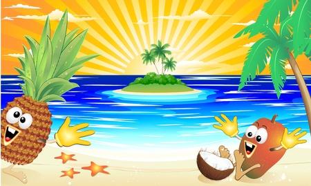 frutas divertidas: playa tropical de frutas ex�ticas en dibujos animados