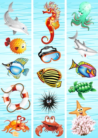marine animals cartoon banners