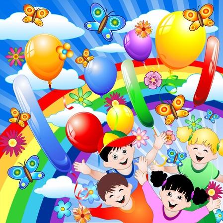 kid cartoon: Happy Birthday Children Kids