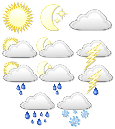 snow storm: Weather Icons Symbols Illustration