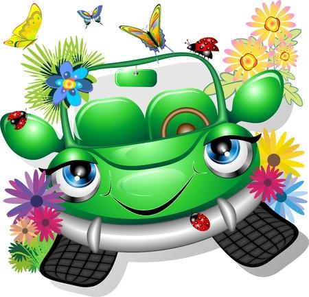 autom�vil caricatura: Verde coche ecol�gico de dibujos animados
