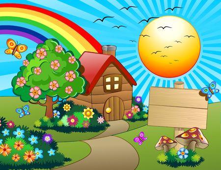 어린이 다운 녹색 언덕에 작은 집