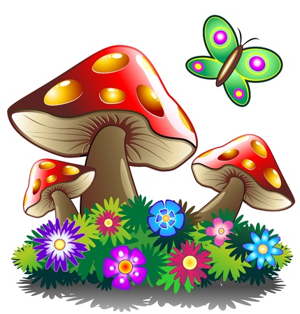 toxic mushroom: Mushroom Flowers and Butterlfy Illustration