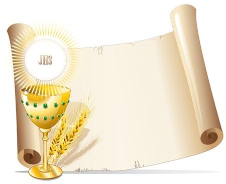 prima comunione: Coppa di religione e Host su sfondo di carta Vettoriali