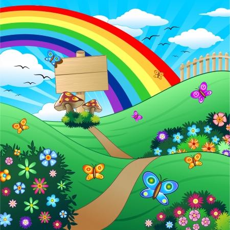 fantasy butterfly: Spring and Summer Childlike Landscape Illustration