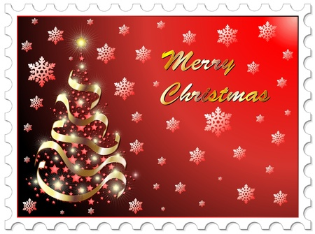 philately: Christmas Stamp Abstract Tree Background