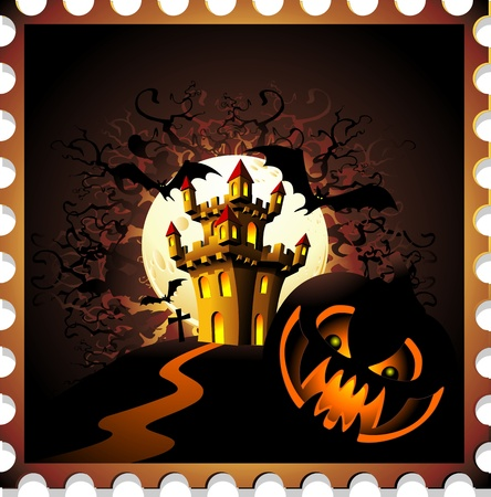 Halloween Pumpkin and Castle Stamp Background Vector