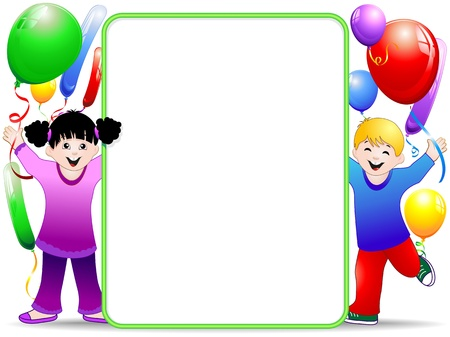 colored balloons: Kids Birthday Party Background with Balloons Illustration