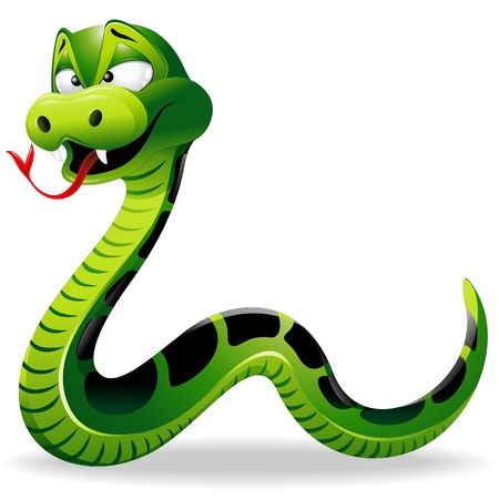 Funny Snake Cartoon Illustration