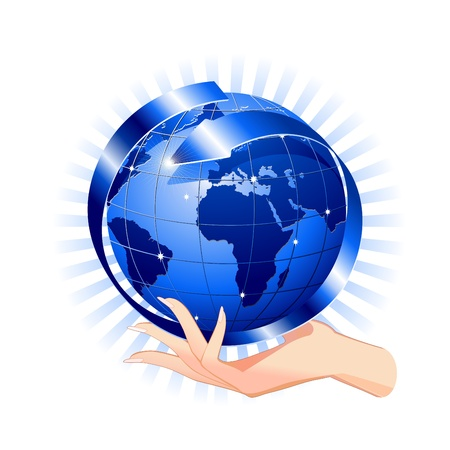 technological: Hand Holding a Blue Globe-Social Network Concept