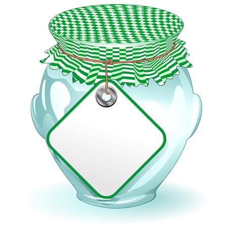 PICKLES: Frasco de vidrio con contenedor de etiquetas de productos alimenticios