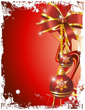 Christmas Ornaments on Red Grunge Backgound Vector