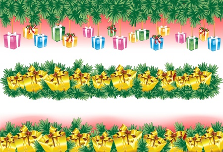 nodes: Christmas Banners with Golden Gifts Illustration