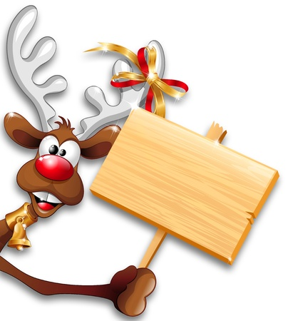reindeer: La Navidad divertida de dibujos animados de renos sosteniendo el panel de madera