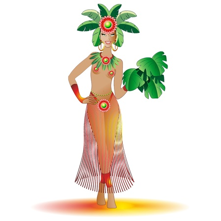Exotic Carnival Beautiful Girl-Brazil Vector