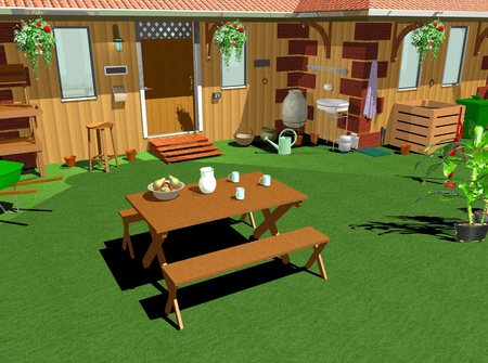 Country Home Garden-Lunch-3D photo