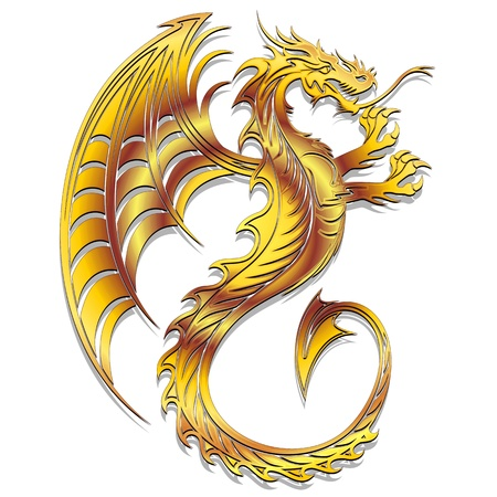 Golden Dragon Symbol 2012 Stock Vector - 11935713