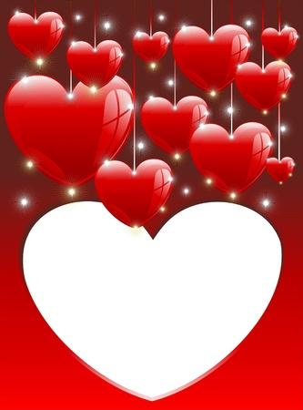 Love Hearts Balloons Card Valentine Vector