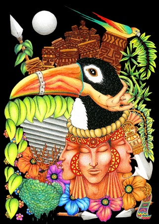 inca: Toucan Fantasy New World Artistic Background