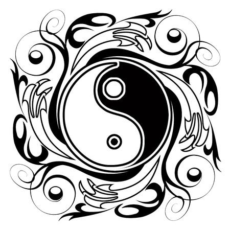 yin and yang: Yin & Yang Ornamental Tattoo Symbol Stock Photo