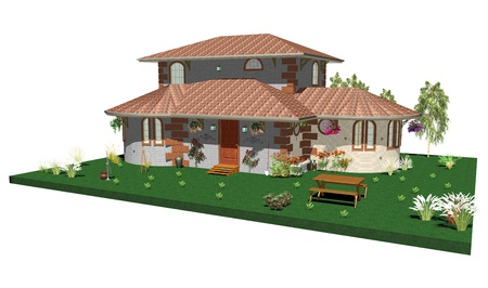 render residence: Country House and Garden-3d Stock Photo