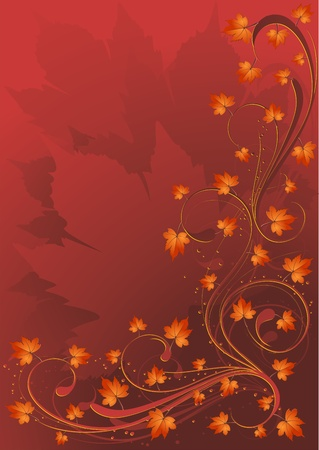 brown swirl: Autumn Leaves Card Background