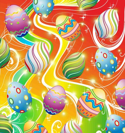 Easter Eggs Ornamental Design Background Stock Vector - 12494564