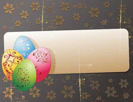 Easter Grunge Greeting Card with Eggs Vector