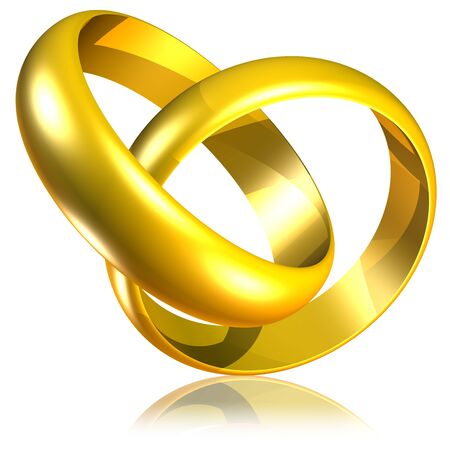 Connected Golden Wedding Rings-3d