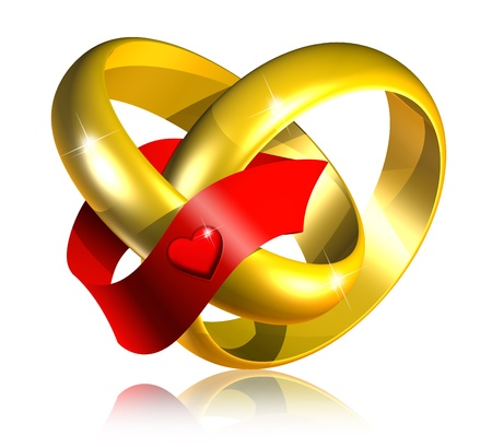 Connected Golden Wedding Rings with Red Ribbon-3d photo