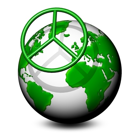 no war: Peace Symbol on Green World-3d