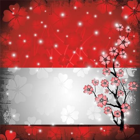 flor de durazno: Peach Blossom Grunge Tarjeta y Label Vectores