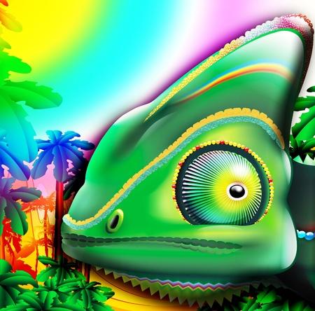 fascinated: Cartoon Chameleon Head