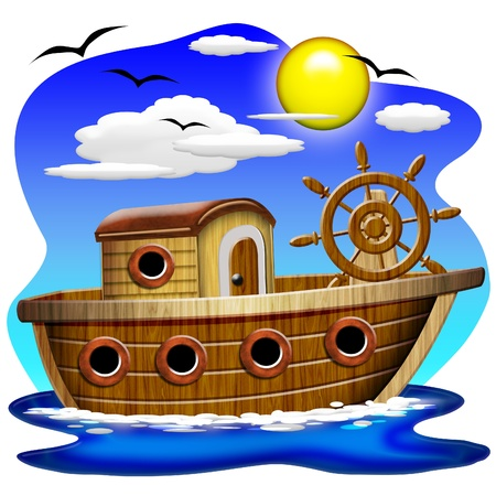 cartoon transportation: Fishing Boat Cartoon