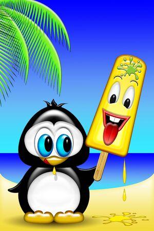 Penguin Cartoon with Ice Cream photo