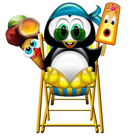 pinguino caricatura: Ping�ino de la historieta con Helado