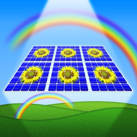 Solar Panels Rainbow and sunflowers photo