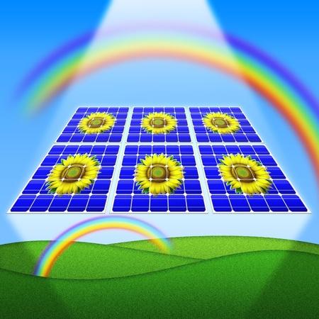 Solar Panels Rainbow and sunflowers photo