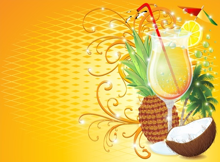 Tropical Exotic Fruit Drink-Fresh Pina Colada Stock Photo - 13375548